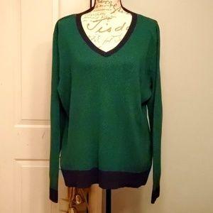 V Neck Green & Black Liz Claiborne Sweater XL